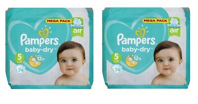 Pampers baby-dry 2 x Mega Pack 74 couches Taille 5 de 11 à 16 kg = 148 Couches R