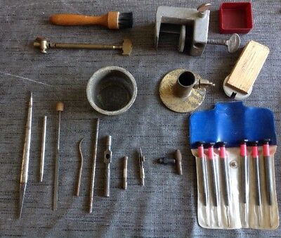 Clockmakers Tools Burnishing Files Clamp Stand Etc From Clock Makers Tools Chest