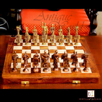 "Brass & Wood Unique Hand Made Wooden Art Chess Board 14""X14"" Folding Style CB 05"