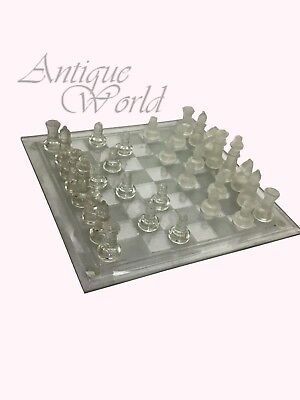 Collectible Elegant Glass Chess Set Figurines / Complete Chess Game CB 06
