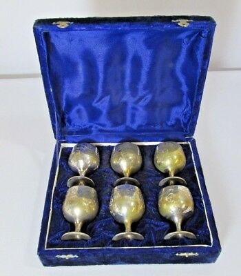 Set of 6 Vintage Miniature Goblets EPNS Silver Plated In Box, Free Post
