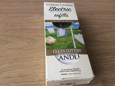 Yankee candle electric plug in fragrance REFILL ONLY x 2 Clean cotton