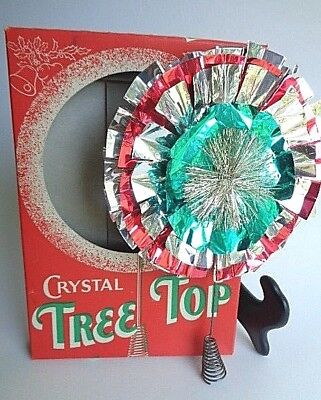 Vintage Aluminum Crystal Tree Topper with Tinsel Original Box Non Electric