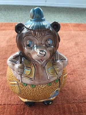 Bear Catching Fish Cookie Jar made in Japan
