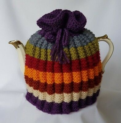 TEA COSY, Hand Knit, for Large Tea Pot, Inspired by Dr Who scarf, Wide Stripe