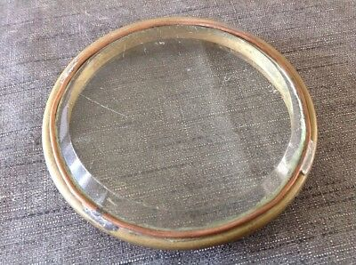 Antique Clock Brass Bezel Flat Bevelled Glass 117mm Diam To Fit Aperture 109mm