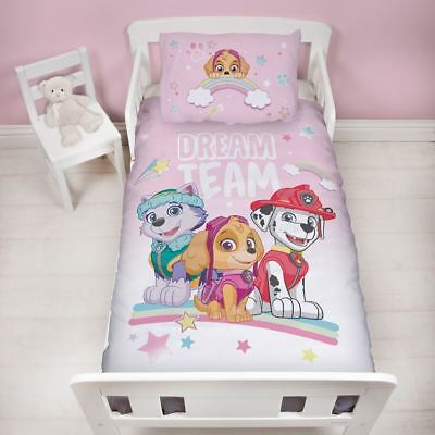 Official Paw Patrol Junior Toddler Cot Bed Duvet Quilt Cover Set New Girls Pink
