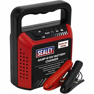 Sealey 6 Amp 6/12V Battery Charger Home Light Workshop 1.3m Cable Insulated