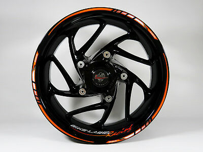 Felgenrandaufkleber Set 710028 Orange-Black Racing Bike Car 16,17 und 18 Zoll