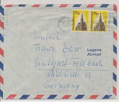 LI59858 South West Africa 1963 airmail fine cover used