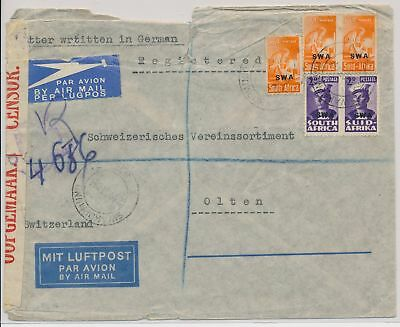 LI59865 South West Africa 1945 censored mail airmail cover used