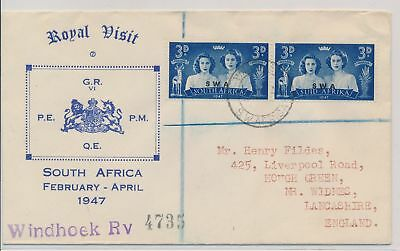 LI59891 South West Africa 1947 royal visit first day cover used