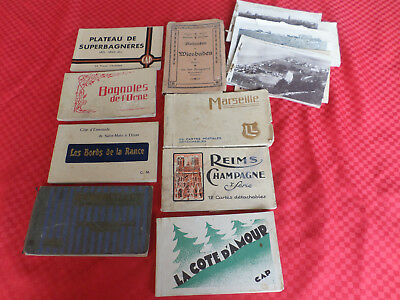 Antique Vintage LOT 8 French & Wiesbaden Germany  Postcards books  150+ cards