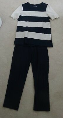 vintage WORTHINGTON navy and white striped pull-on tunic and pants outfit - S