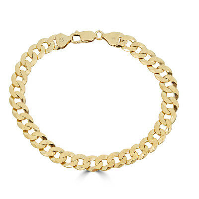 """Mens Miami Cuban Bracelet 14k Gold Over Solid 925 Silver 8mm Italy Made 8.5"""""""