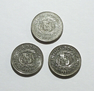 Dominican Republic 25 Centavos Coins from 1989, 1990, 1991