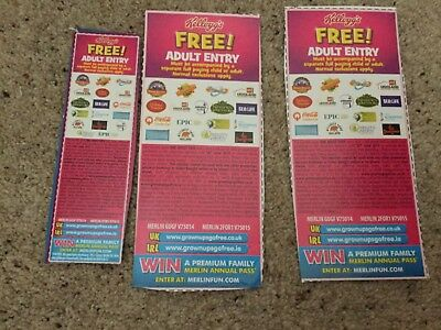 3 x Kelloggs Free Adult Entry 2 for 1 vouchers (Legoland etc)