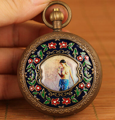 Rare chinese old Copper inlay cloisonne statue Pocket watch  Clock 20th Antique
