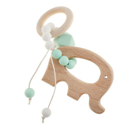 Baby Teether Toy Infant teething Baby Rattle Safe Wooden Ring Wooden Baby