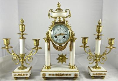 Antique 19th c French Japy Freres Gilt Bronze & White Marble Mantel Clock Set