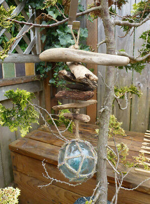 #2  Vintage Japanese Glass Fishing Float and Driftwood Hanging