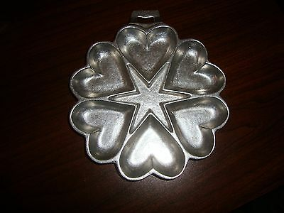 Antique Cast Metal Heart Star Baking Pan Cookie Biscuit Mold Collectible Vintage