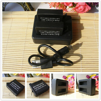 2 Battery For GoPro AHDBT-401 / Dual Charger  GoPro HD Hero 4 HERO4 Camera