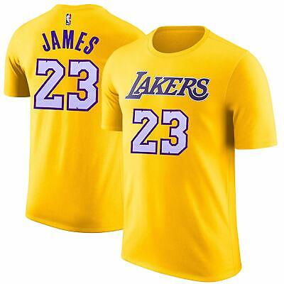ff429fd1f LEBRON JAMES  23 Los Angeles Lakers NBA Majestic Name Number T-Shirt ...