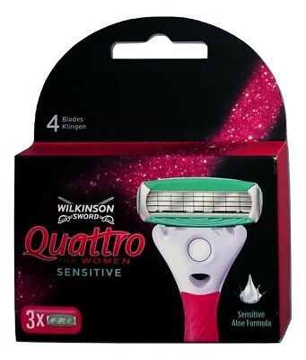 Wilkinson Sword Quattro for Woman Sensitive Rasierklingen mit Aloe 3er Pack