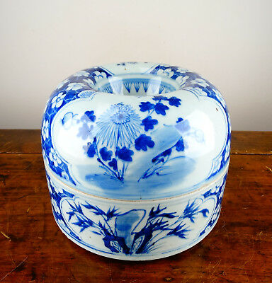 Rare Antique Chinese Porcelain Spittoon Box Blue and White Prunus 19th C Qing