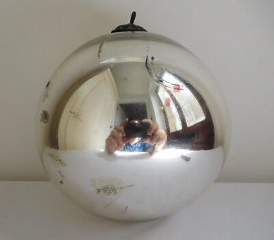 Large Early Silver Mercury Glass Witch Ball 6 Inches Across Chabby Chic Look