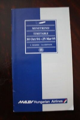 Timetable Flugplan Malev Hungarian Airlines 1994/1995