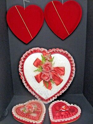 Lot of Vintage Heart Shaped Valentine Candy Box Gold & White Lace Flower