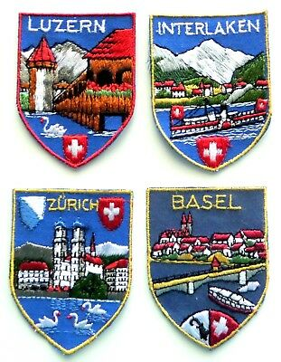 Lot of 4 Unused Vintage EMBROIDERED SOUVENIR PATCHES from SWITZERLAND
