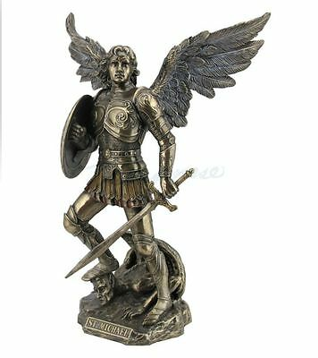 St. Michael Archangel Standing On Demon Sculpture  w/Sword & Shield Statue