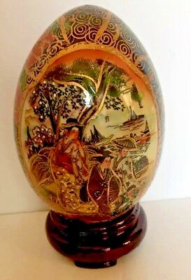 Large Vintage Hand Painted Chinese Porcelain Egg on Stand With Gold Gilding!!