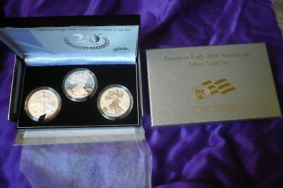 2006W American Eagle 20th Anniversary Silver 3 Coin Set Reverse Proof