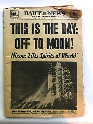 Apollo 11 Moon Walk  This is the Day July 16, 1969 New York Daily News Newspaper