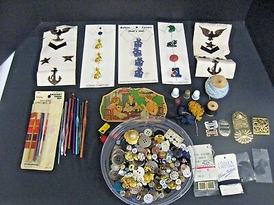 Lot of Vintage Sewing Notions Buttons Needles Crochet Hooks Military Emblem LOT