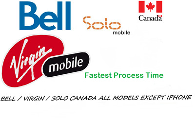 Bell / Virgin / Solo Canada Unlocking Service All Models Except Iphone