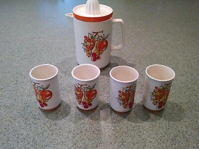 Vintage Retro Napcoware Fruit Juice Pitcher and Cups Set Juice Reamer C-8275