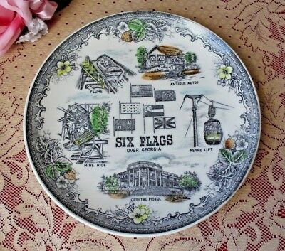 """Vintage Six Flags Over Georgia GA Souvenir Plate and Historic Sights 9.25"""""""