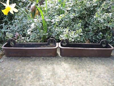 Pair of Small Antique  Cast Iron Troughs Bird Feeder /   Garden Planter  (407a)