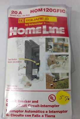 New-Square D Homeline 20A HOM120GFIC Circuit Breaker/Ground Fault Circuit Interr