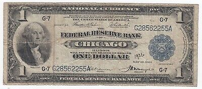 1918 $1 National Currency Fr#728 CHICAGO Blue Seal Large US Note A4885