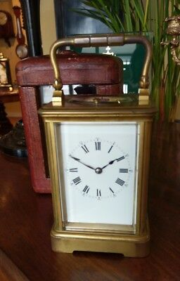 Antique carriage clock with outer case. Attr' to Drocourt