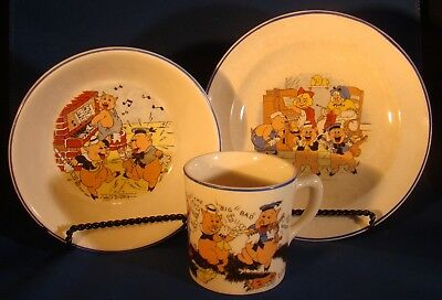 Walt Disney Ent. 1935 Salem China Co. PATRIOT CHINA THREE LITTLE PIGS CHINA SET!