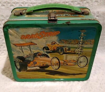 """Vintage Rare """"drag Strip""""  Metal Lunchbox With Thermos!"""