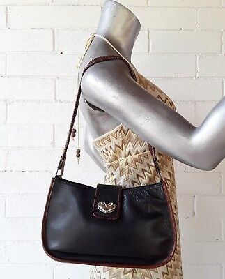 Fossil rustic black brown leather vintage shoulder handbag silver western decor
