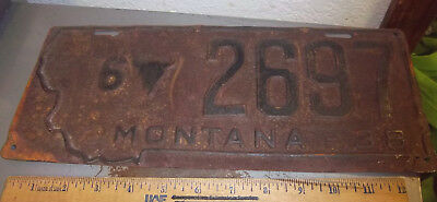 vintage 1938 Montana metal License plate w Steer Head logo, low number 2697